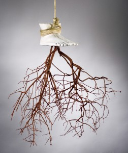 "Kimberly Callas, Blood Root, Cast Plaster, Wood, Natural Pigment, Rope, 32"" x 36"" x 18"", Photography by William Thuss"
